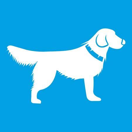 Dog icon white isolated on blue background vector illustration Illustration