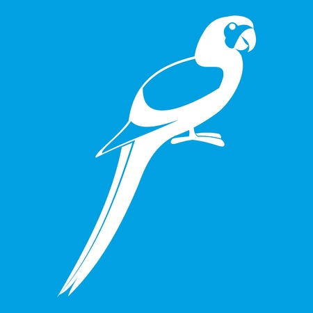 genus: Parrot icon white isolated on blue background vector illustration
