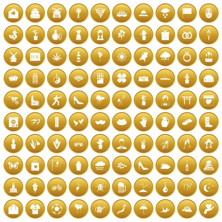 100 flowers icons set in gold circle isolated on white vector illustration Illustration