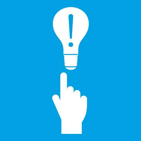 A finger pointer and light bulb icon white isolated on blue background vector illustration