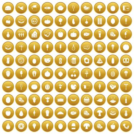100 food icons set in gold circle isolated on white vector illustration