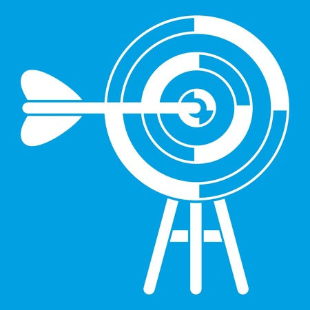 dart board: Target with an arrow icon white isolated on blue background vector illustration Illustration