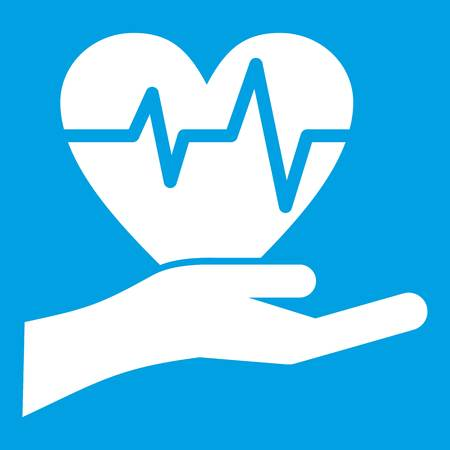Hand holding heart with ecg line icon white