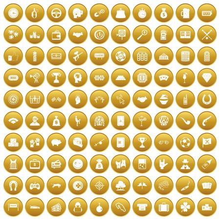100 gambling icons set gold Illustration