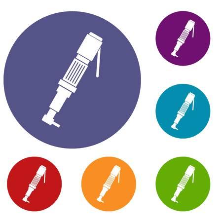 Le icone del cacciavite pneumatico si sono regolate nel colore rosso, blu e verde del cerchio piano per il web