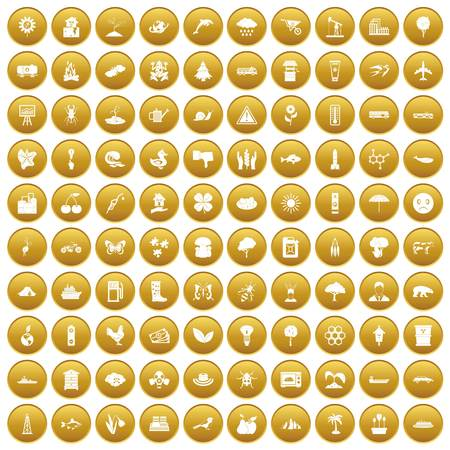 100 global warming icons set in gold circle isolated on white vector illustration