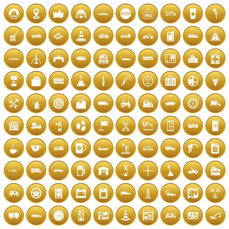 100 gas station icons set in gold circle isolated on white vector illustration Illustration
