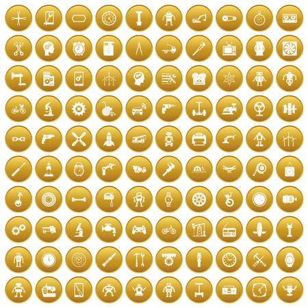 100 gear icons set in gold circle isolated on white vector illustration