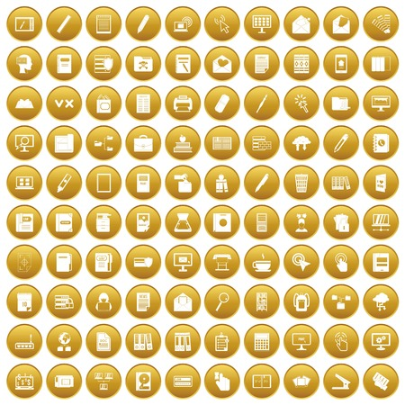 100 folder icons set gold. Vector illustration.