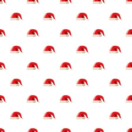 Red hat with pompom pattern seamless repeat in cartoon style vector illustration