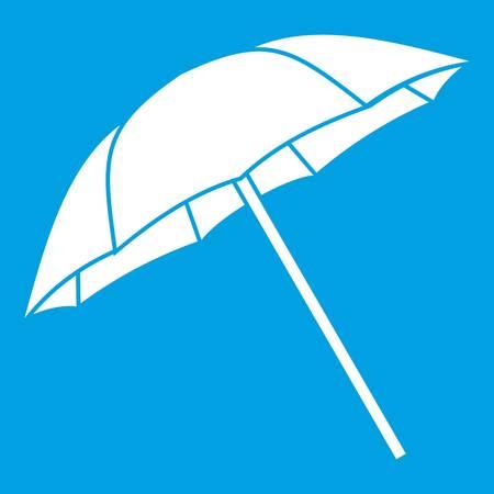 Umbrella icon white isolated on blue background vector illustration Illustration