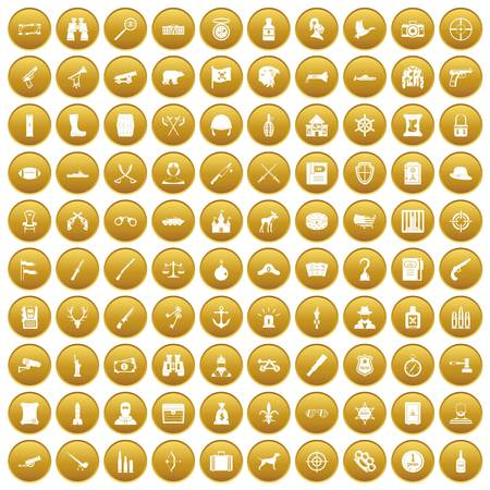 100 guns icons set in gold circle isolated on white vector illustration Illustration