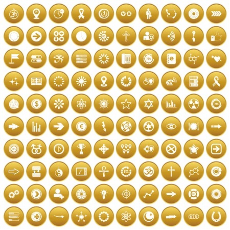 100 graphic elements icons set gold. vector illustration. Illustration