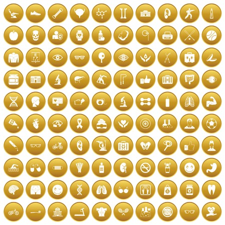 100 health icons set in gold circle isolated on white vector illustration