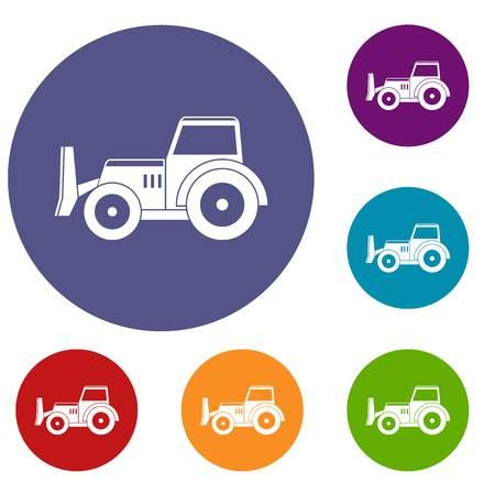 skid: Skid steer loader icons set