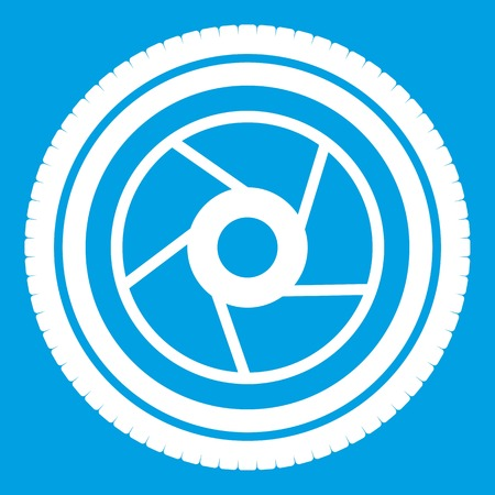 photography equipment: Camera aperture icon white Illustration
