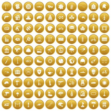 100 helmet icons set gold
