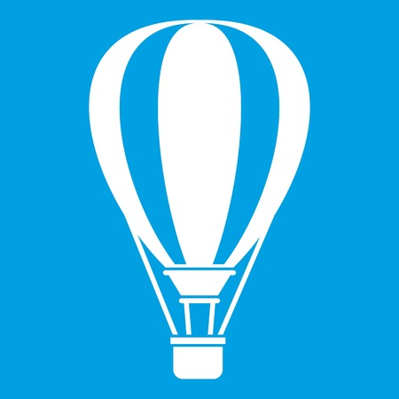 Hot air ballon icon white isolated on blue background vector illustration
