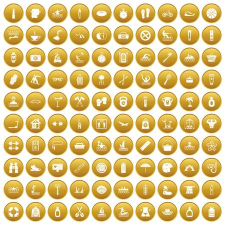 100 human health icons set in gold circle isolated on white vector illustration Illustration
