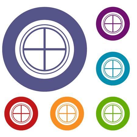 White round window icons set