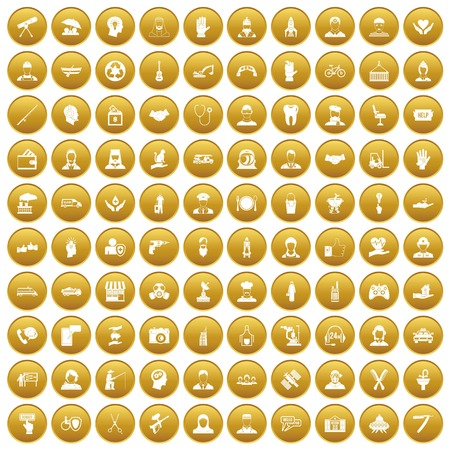 100 human resources icons set gold
