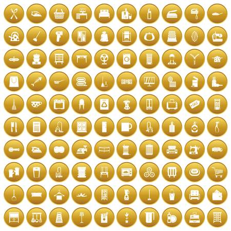 100 housework icons set in gold circle isolated on white vector illustration
