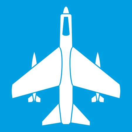 Armed fighter jet icon white