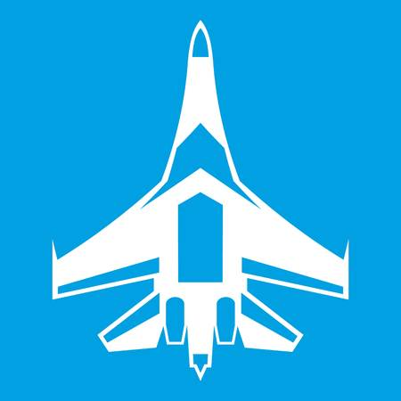 Jet fighter plane icon white