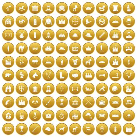 100 horsemanship icons set gold