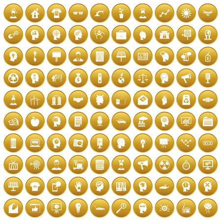 lamp light: 100 idea icons set in gold circle isolated on white vector illustration