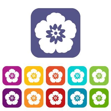 Rose of Sharon, korean flower icons set