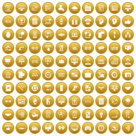 100 interface icons set gold