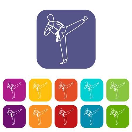 Wushu master icons set