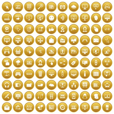 100 internet icons set gold Illustration