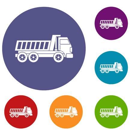 dumper: Dumper truck icons set Illustration
