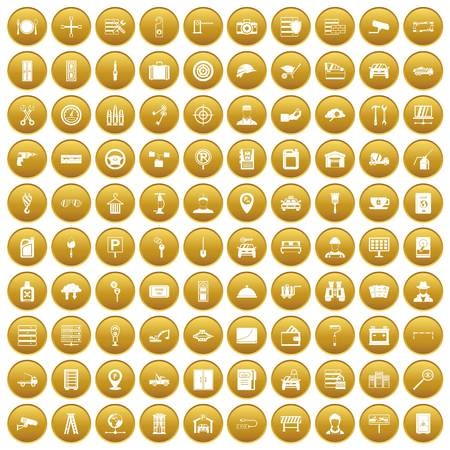 100 keys icons set gold Illustration