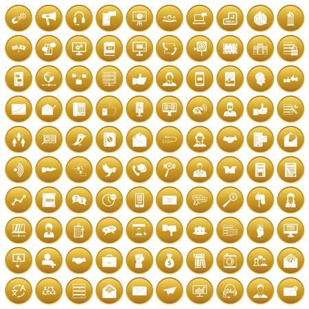 100 interaction icons set gold Illustration