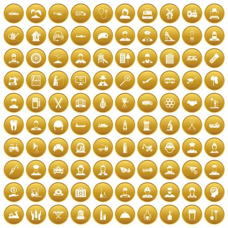 100 job icons set gold
