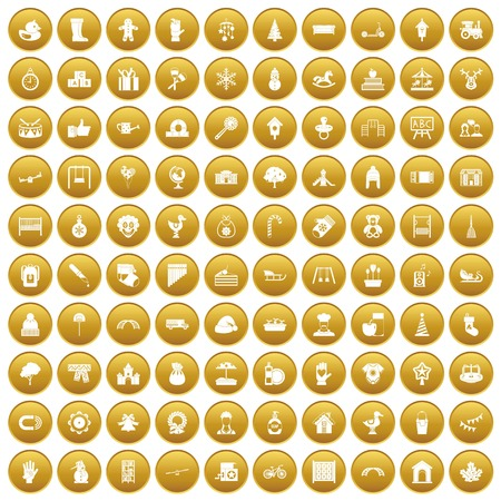 100 kindergarten icons set gold Illustration
