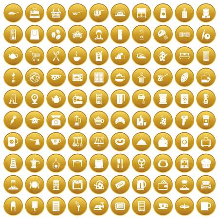 100 kitchen utensils icons set in gold circle isolated on white vector illustration