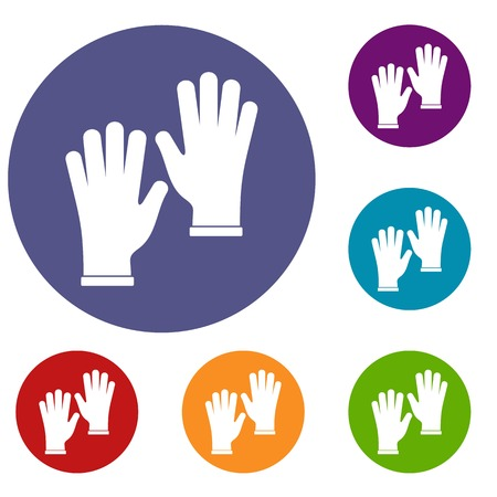 Medical gloves icons set in flat circle red, blue and green color for web