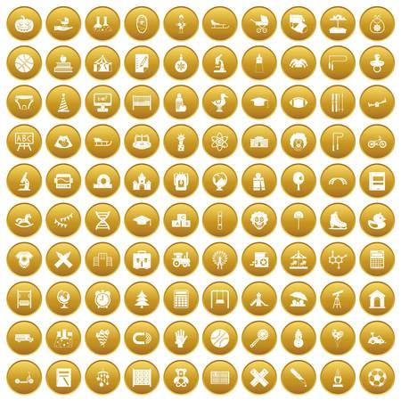 100 kids icons set gold