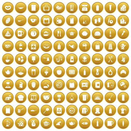 100 kitchen icons set in gold circle isolated on white vector illustration Illustration