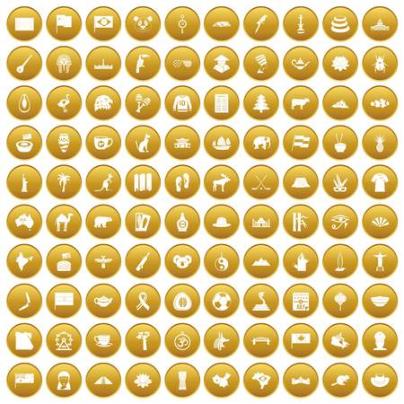 100 landmarks icons set in gold circle isolated on white vector illustration
