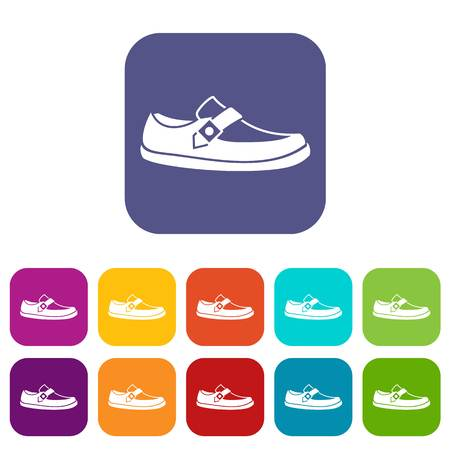 loafer: Men moccasin icons set vector illustration in flat style in colors red, blue, green, and other