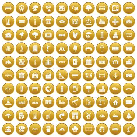 100 landscape element icons set in gold circle isolated on white vector illustration