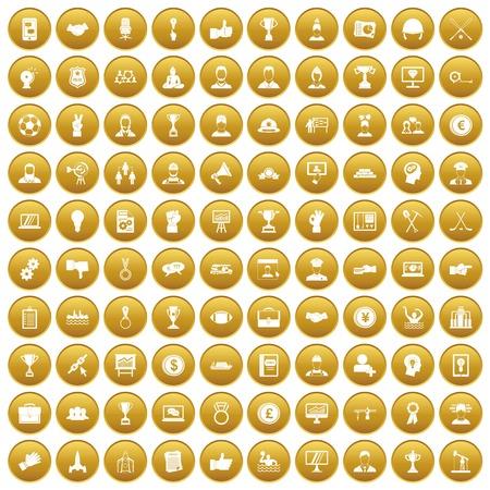 白いベクトル図に分離された金の円で 100 のリーダーシップ アイコンを設定します。