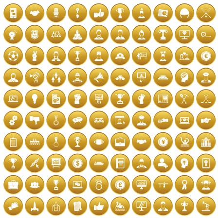 100 leadership icons set in gold circle isolated on white vector illustration
