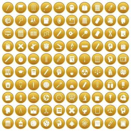 100 learning icons set in gold circle isolated on white vector illustration