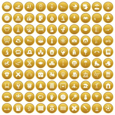 100 kids icons set in gold circle isolated on white vector illustration